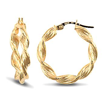 Jewelco London Ladies 9ct Yellow Gold Barked Platted Candy Twist 3.5mm Hoop Earrings 22mm