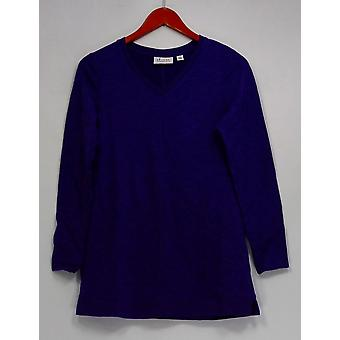 Denim & Co. XXS Essentials V-Neck Long Slv Tunic w/ Straight Hem Purple A285818