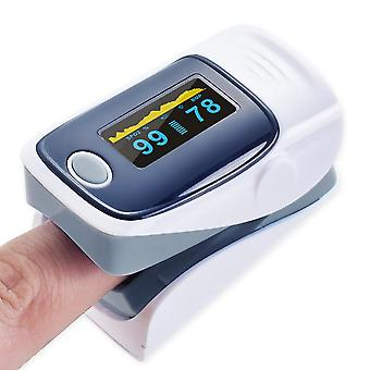 Digital finger oximeter pulse display heart rate meter gray
