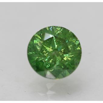 Cert 1.36 Carat Yellow Green SI1 Round Brilliant Enhanced Natural Diamond 6.86mm