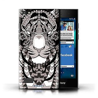 STUFF4 Case/Cover for Blackberry Leap/Tiger-Mono/Aztec Animal