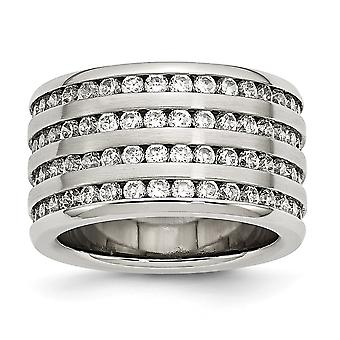 Stainless Steel Brushed Multirow 13mm Cubic Zirconia Ring - Ring Size: 7 to 8
