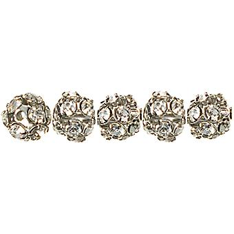 Jewelry Basics Metal Beads 6Mm 5 Pkg Silver Clear Rondelle 34708172