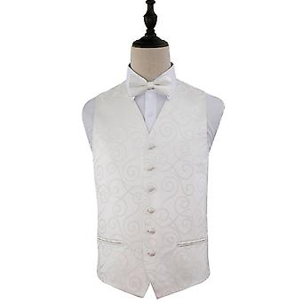 Ivory Scroll Patterned Wedding Waistcoat & Bow Tie Set