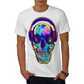 Skull Music Festival Headphone Men White T-shirt | Wellcoda