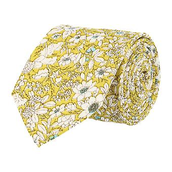 Snobbop 6 cm narrow tie yellow floral