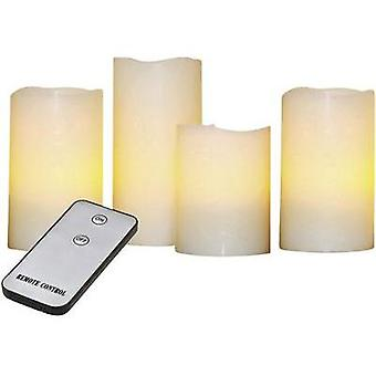 LED wax candle 4-piece set Cream Amber yellow (Ø) 7.5 cm X4-LIFE