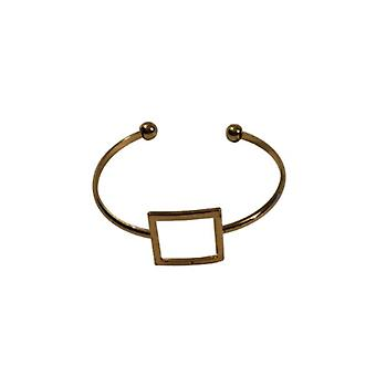 Gold-colored minimalist chic statement cuff bracelet with square