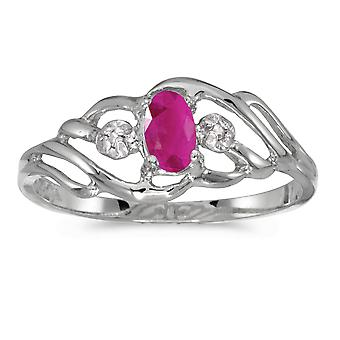 14 k hvitt gull ovale Ruby og Diamond Ring