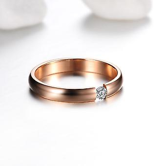 Gold Plated Stainless Steel Soliataire Cubic Zirconia Ring