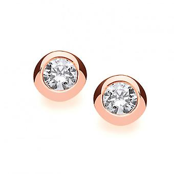Cavendish French Rose Gold and Silver Open Backed CZ Solitaire Earrings