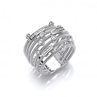 Cavendish French Silver and CZ Mulit Wrap Ring