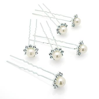 Six Piece Silver & Faux Pearl Colour Crystal Metal Hair Pin Set