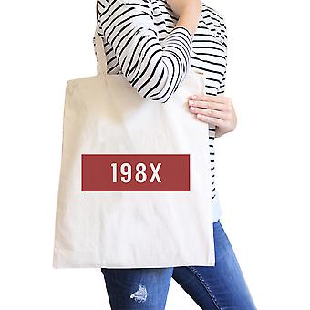 198X Natural Canvas Tote Bag Trendy Shoulder Bag Eco-Friendly