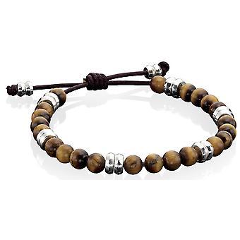 925 Silver Leather Tiger Eye Bracelet