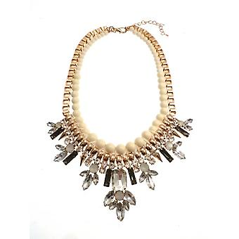 W.A.T Beaded Gold And Crystal Statement Necklace