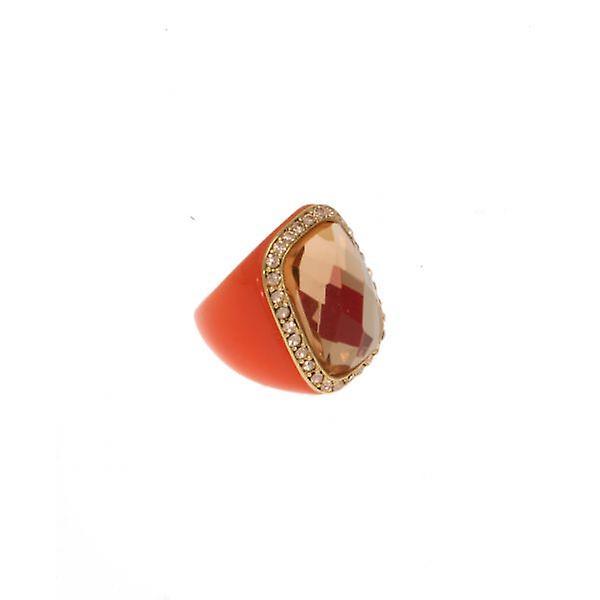 W.A.T Coral Coloured Square Resin Crystal Ring