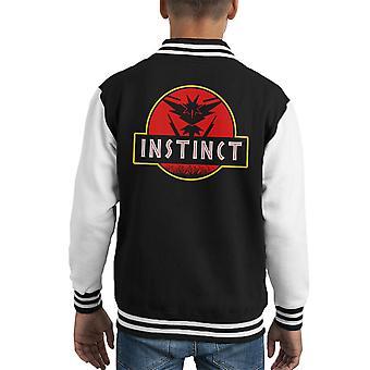 Team Instinct Jurassic Park Pokemon Go Kid's Varsity Jacket