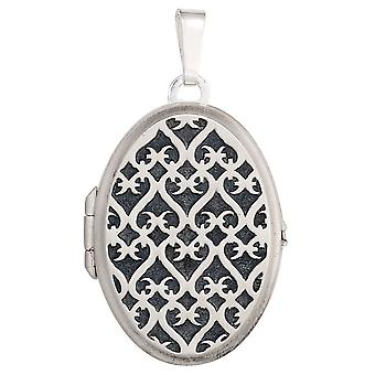 Medallion oval pendant 925 sterling silver Matt rhodium-plated with grid