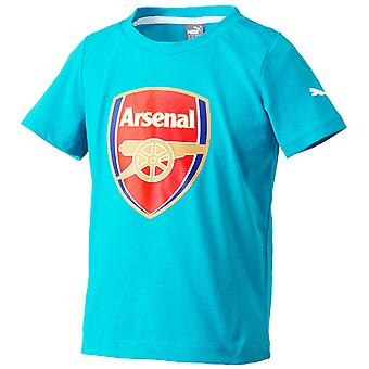 2015-2016 arsenal Puma Crest Fan Tee (Capri Breeze) - børn