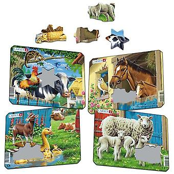 Larsen Puzzle Small Farm Animals (Pack of 4) (Toys , Boardgames , Puzzles)