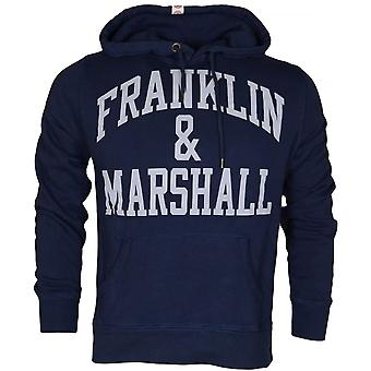 Franklin & Marshall Va089 Printed Arch Grey Logo Navy Hoodie