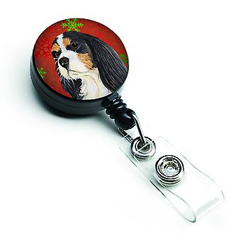 Cavalier Spaniel Red and Green Snowflakes Holiday Christmas Retractable Badge Re