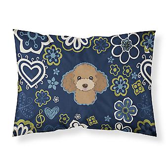 Blue Flowers Chocolate Brown Poodle Fabric Standard Pillowcase