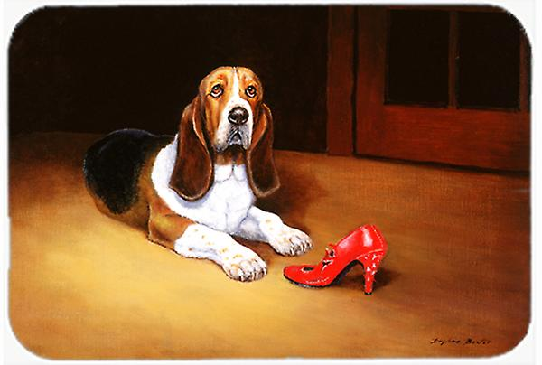 Carolines Treasures  BDBA0372LCB Basset Board and Shoe Glass Cutting Board Basset Large 005786