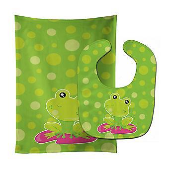 Kikker op lelieblad groene Polkadots Baby Slabbetje & Burp doek