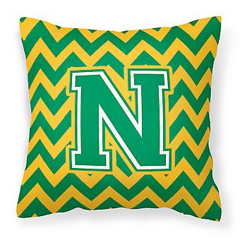 Letter N Chevron Green and Gold Fabric Decorative Pillow