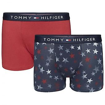 Tommy Hilfiger Boys 2 Pack Icon Boxer Trunk, Navy Blazer Stars / Scooter Red, X-Large
