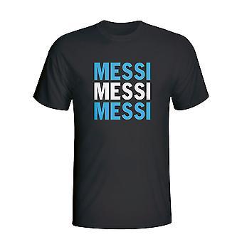 Lionel Messi Argentina spiller Flag T-shirt (sort) - børn