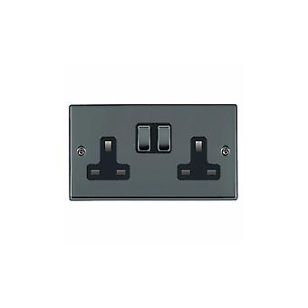 Hamilton Litestat Hartland Black Nickel 2g 13A DP Switched Socket BK/BL