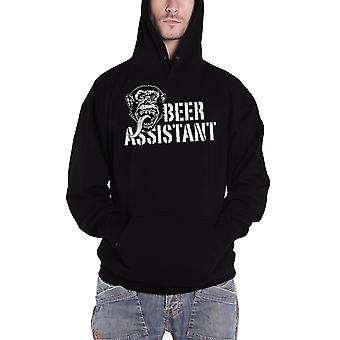 Gas Monkey Garage Hoodie Beer Assistant Distressed Logo Official Mens New Black
