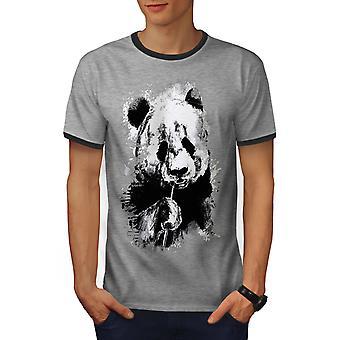 Eten Panda gezicht mannen Heather Grey / Heather donkere T-shirt van de GreyRinger | Wellcoda
