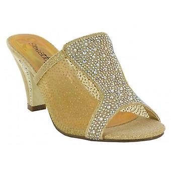 Ladies Womens Mid Stiletto Heel Slip On Wedding Evening Mule Sandals Shoes