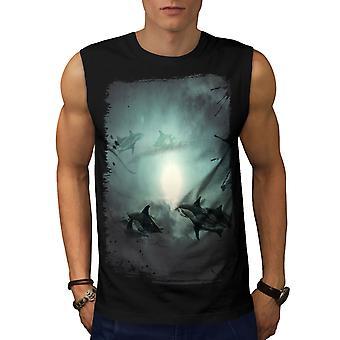 Mystic Ocean Fish Men BlackSleeveless T-shirt | Wellcoda