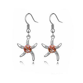 Womens Silver sjöstjärna örhängen Orange Crystal sten BG1081E