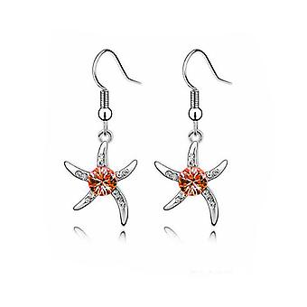 Womens Silver Starfish Earrings Orange Crystal Stone BG1081E