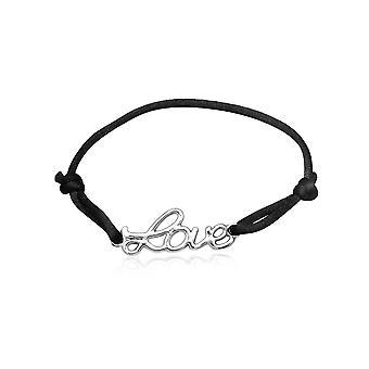 Bracelet LOVE en Soie Noir et en Argent 925