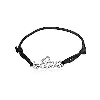 Bracelet LOVE silk black and Silver 925