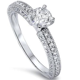1 CT Vintage diamant förlovningsring 14K vitguld