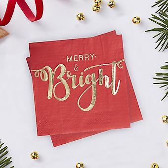 Gold Foiled Merry And Bright Cocktail Napkins - Red and Gold Xmas Party x 20