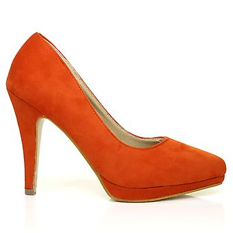 EMMA Orange Faux Suede Stiletto High Heel Platform Pointed Shoes
