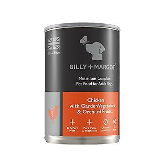 Billy + Margot nahrhafte komplett nassen Hund essen - Huhn-395 g Dose x 12