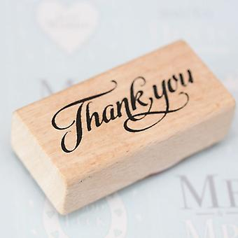 'Thank You' Wooden Rubber Stamp - Scrapbooking / Craft / DIY Tags / Wedding Favours