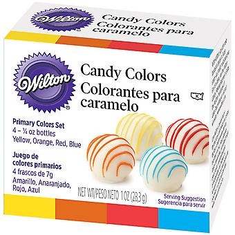 Candy Colors .25oz 4/Pkg-Yellow, Orange, Red & Blue