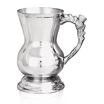 Scottish Thistle Handle Heavy Gauge Pewter Tankard - 1 Pint +