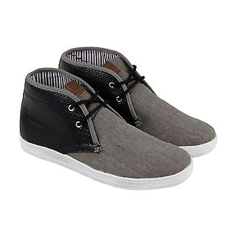 Ben Sherman VaughMens Gray Textile & Leather High Top Sneakers Shoes